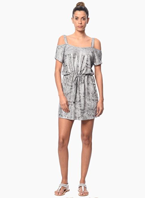 Network Kayık Yaka Askılı Mini Elbise Gri